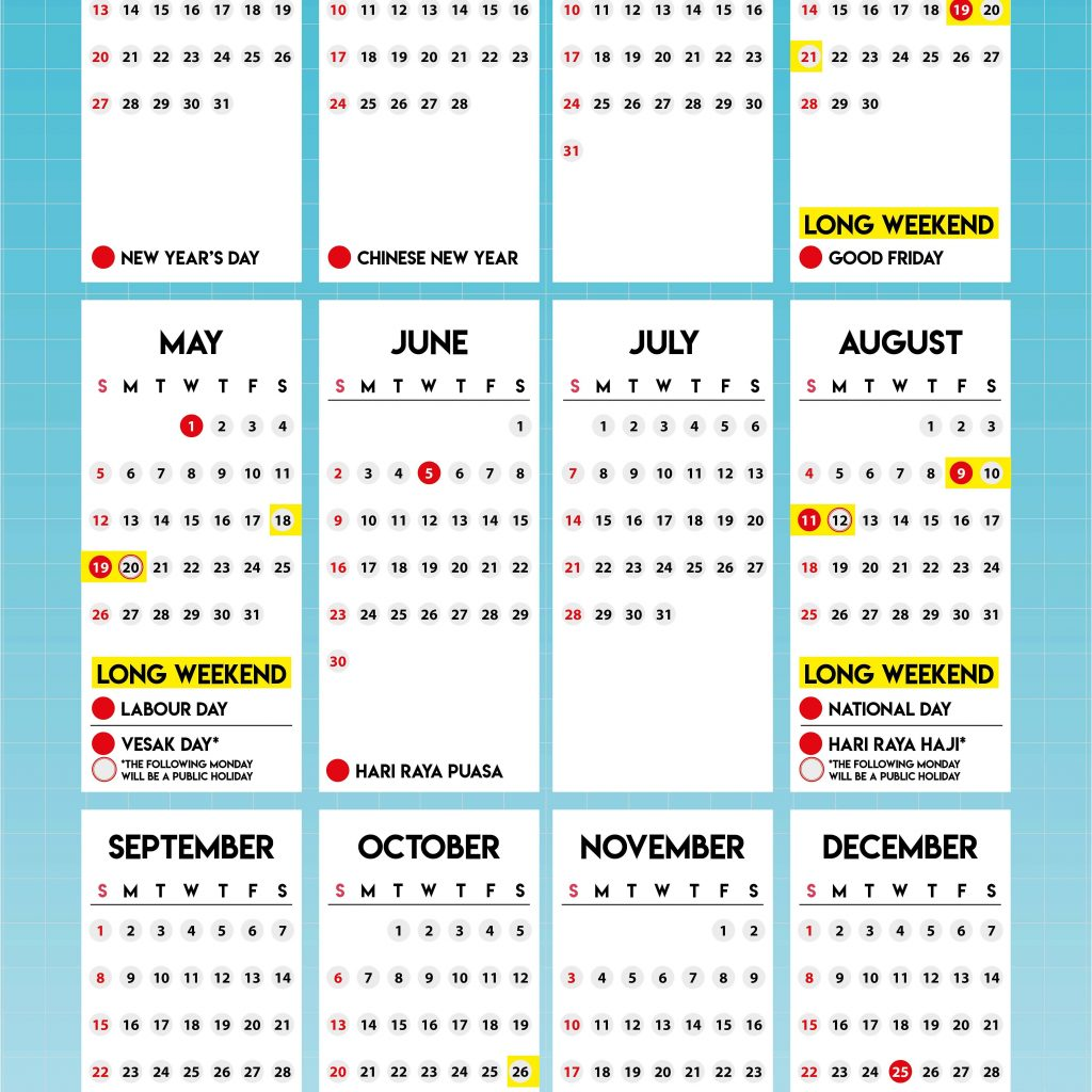 Year 2019 Calendar Singapore With To Have 4 Long Weekends In Channel NewsAsia