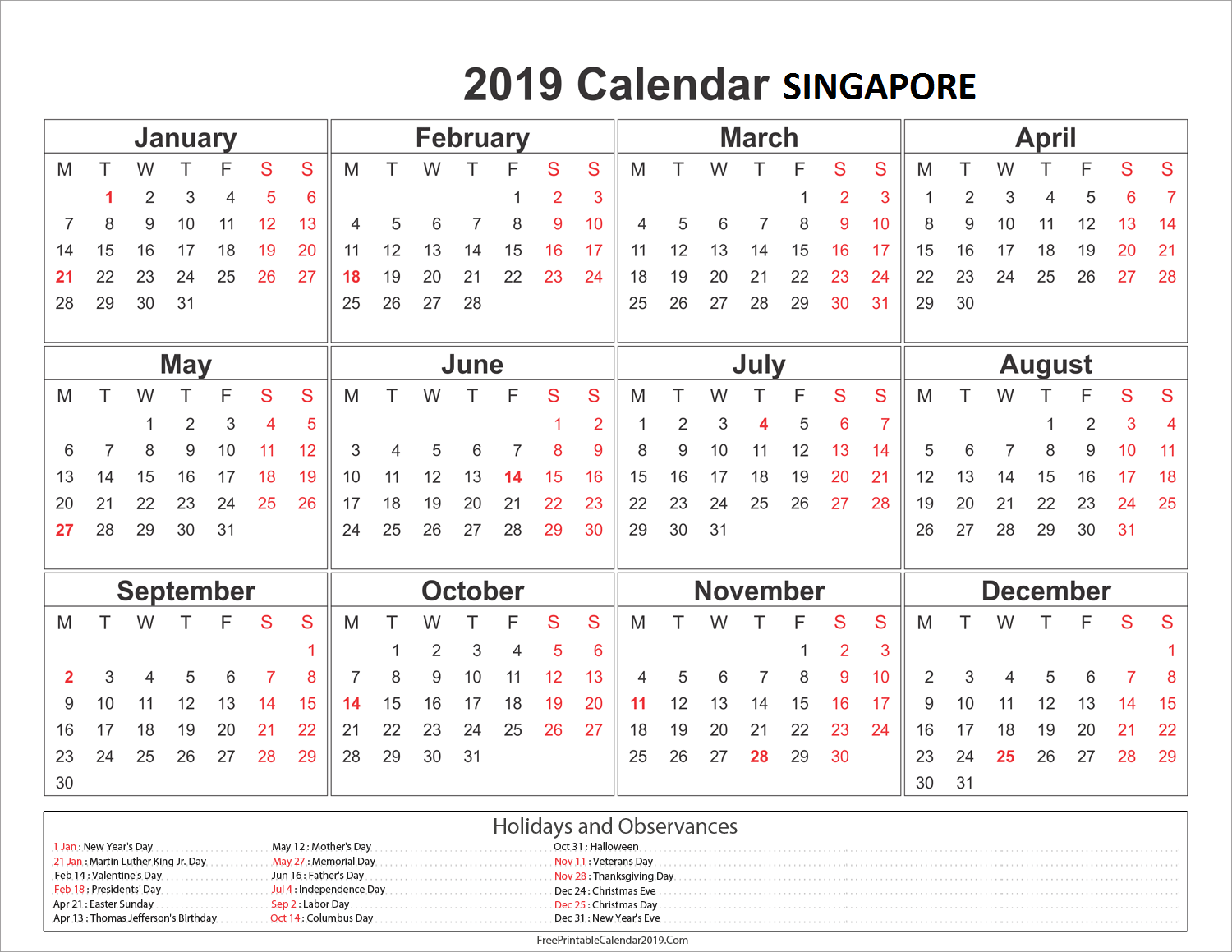 Year 2019 Calendar Singapore With Yearly Holidays Download November