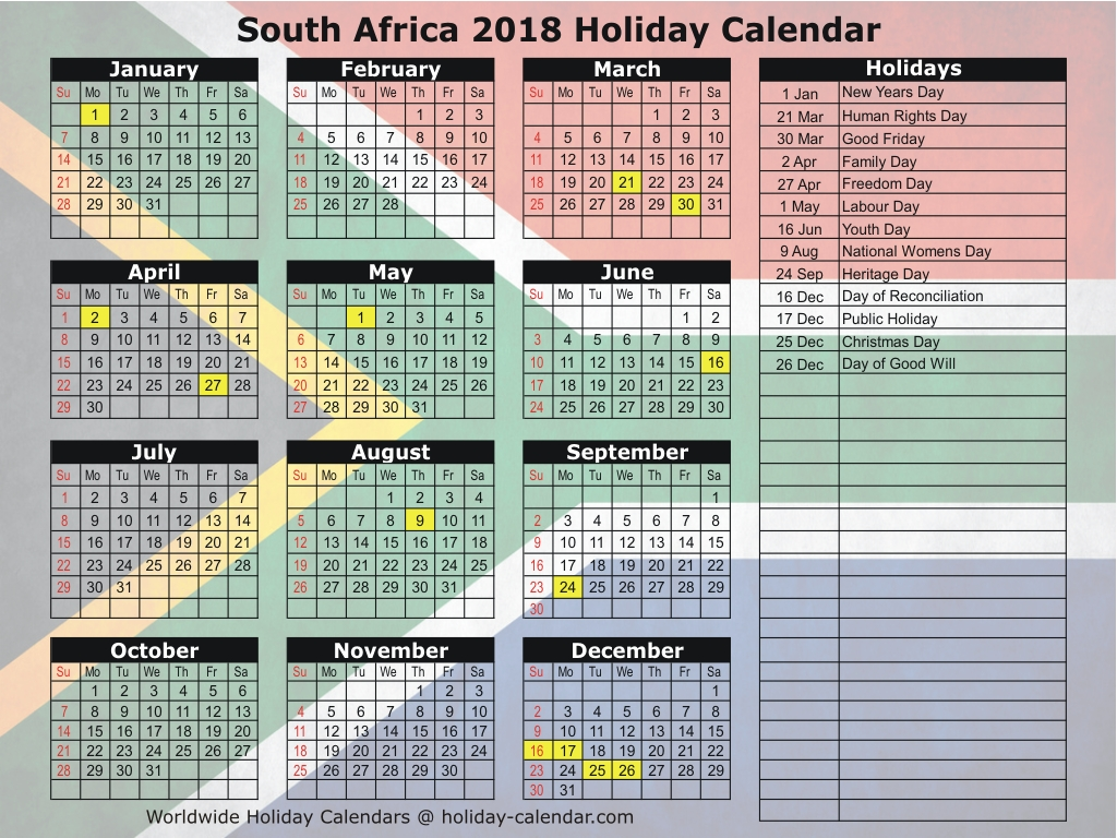 Year 2019 Calendar South Africa With 2018 Holiday