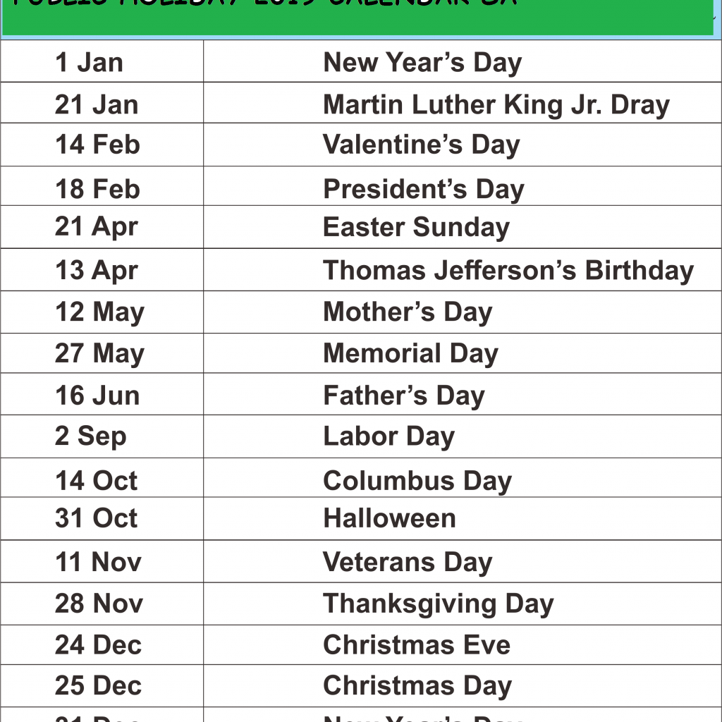 Year 2019 Calendar South Africa With Download Public Holiday Template