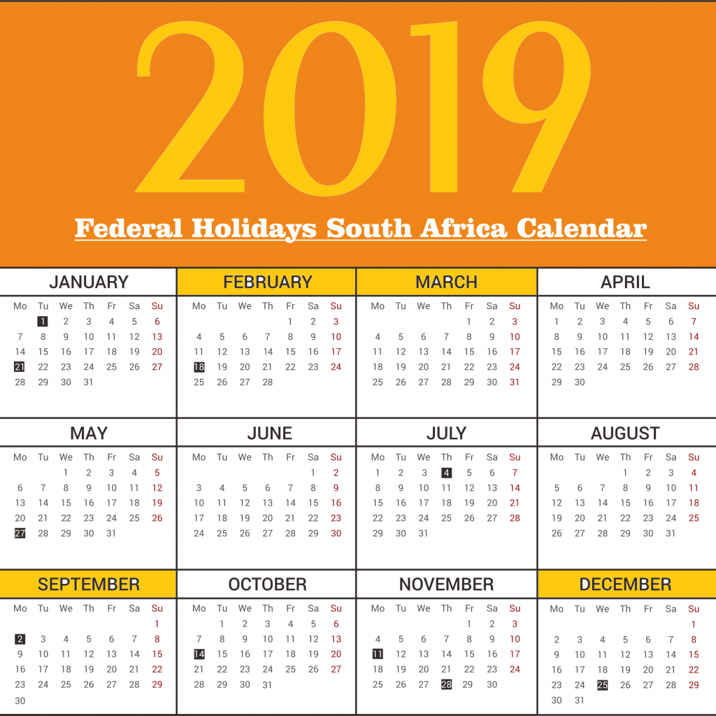 Year 2019 Calendar South Africa With Federal Holidays Free Template December