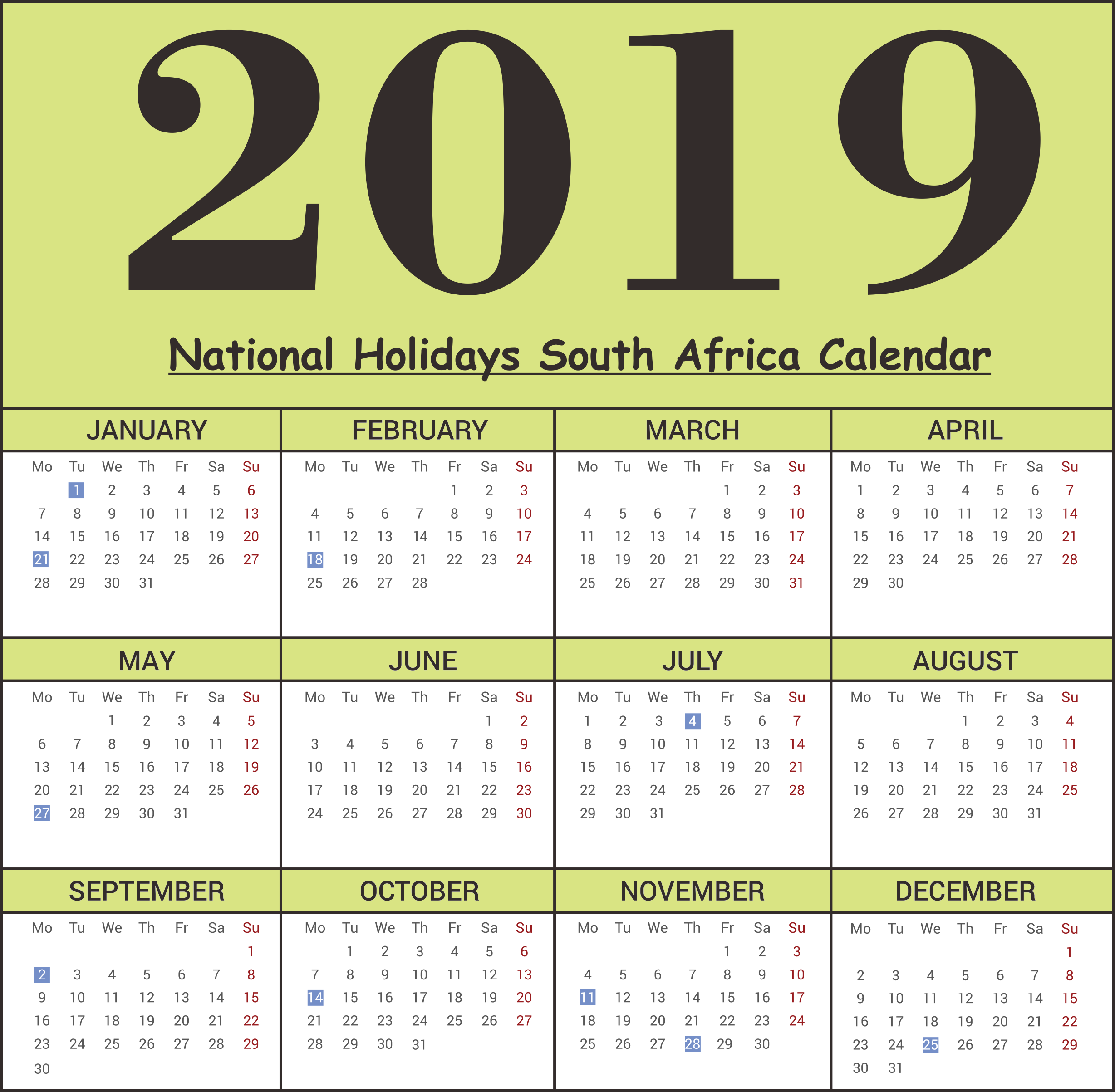 Year 2019 Calendar South Africa With Free SA National Holidays Templates