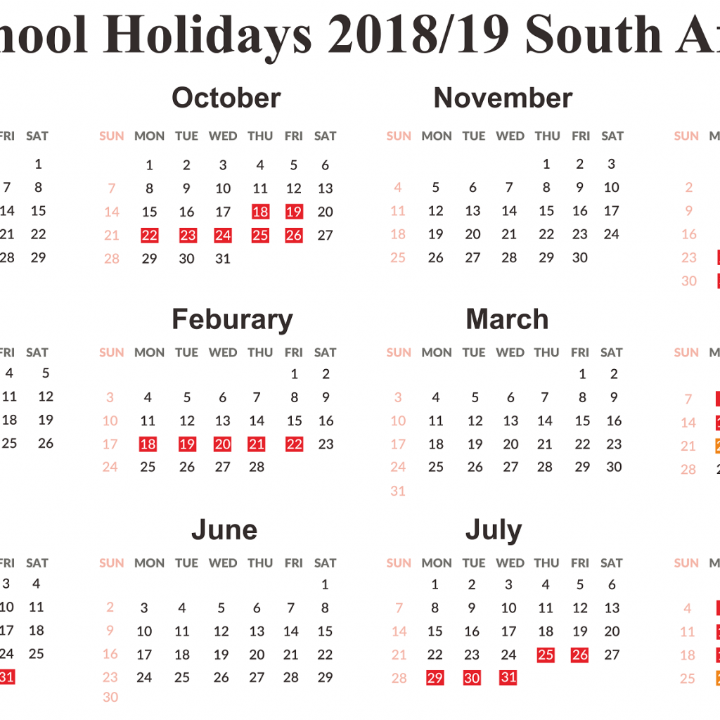 Year 2019 Calendar South Africa With Free SA School Holidays Templates