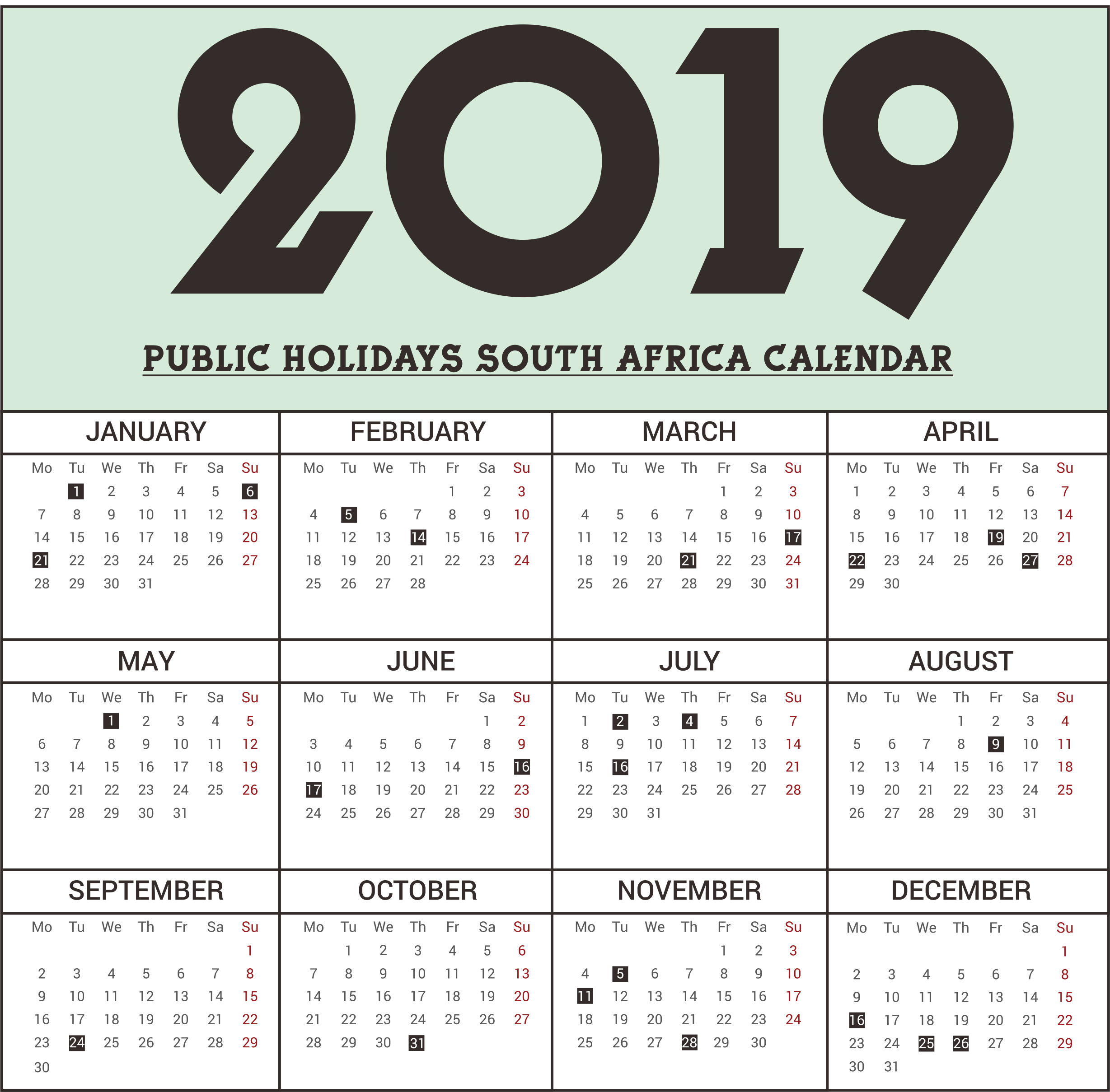 Year 2019 Calendar South Africa With Get Free Public Holidays Printable SA