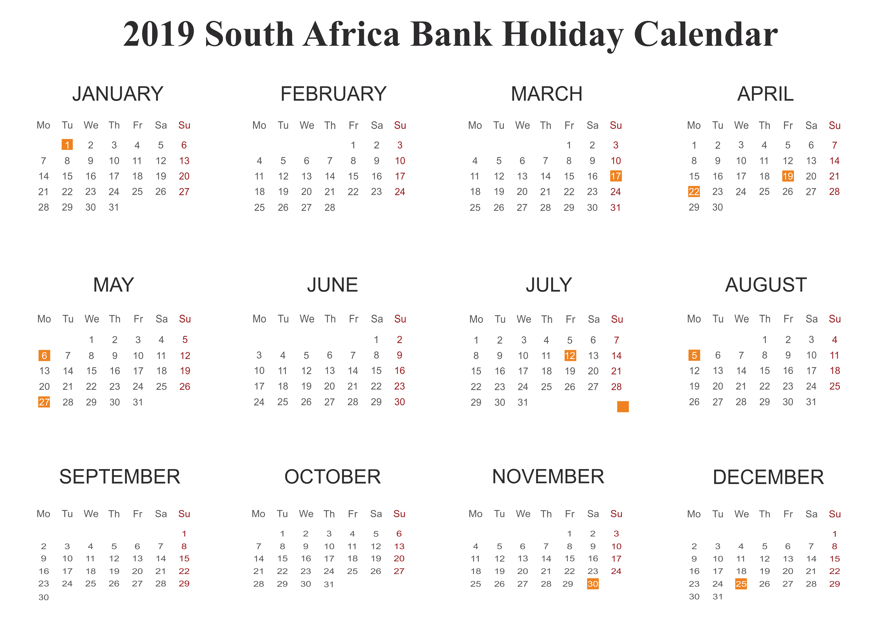 Year 2019 Calendar South Africa With Yearly Download Bank Holiday Templates