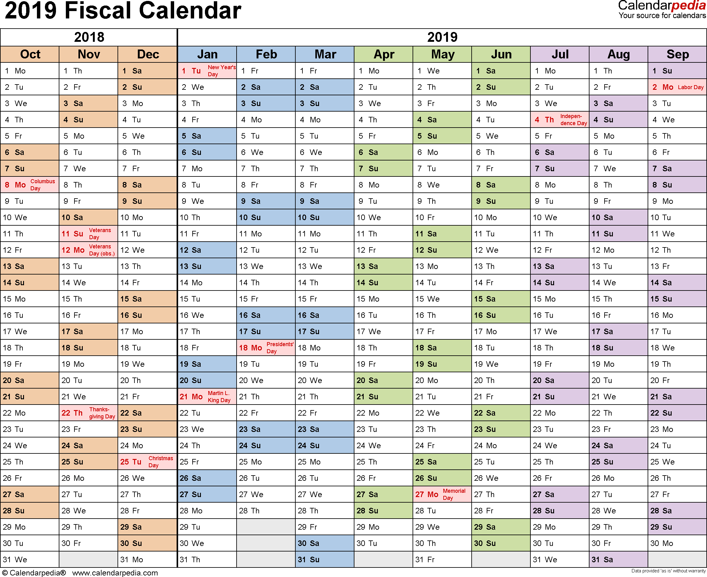 Year 2019 Calendar Template With Fiscal Calendars As Free Printable Word Templates