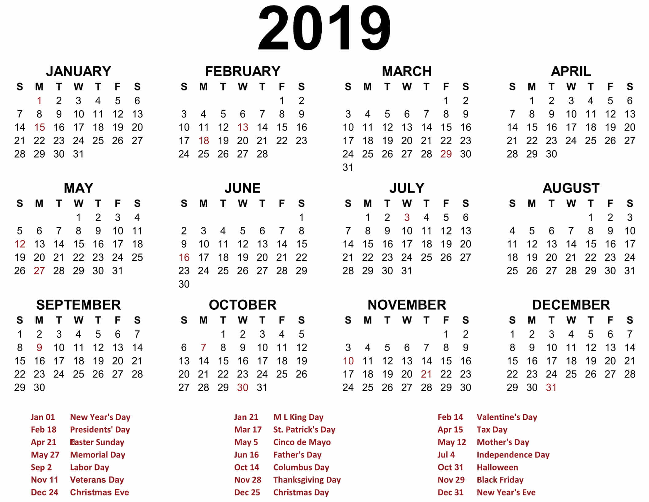 Year 2019 Calendar Template With Printable Blank Templates Calenndar Com