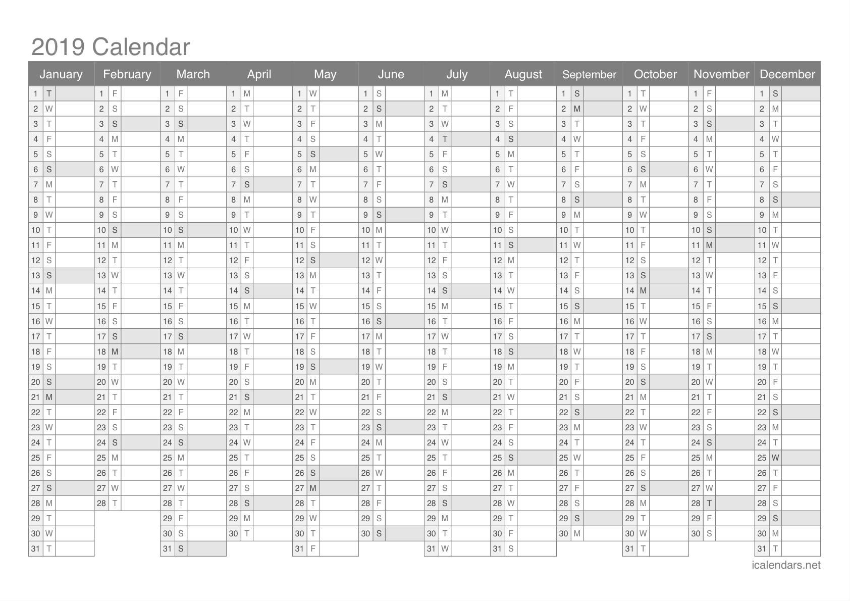 Year 2019 Calendar Template With Printable PDF Or Excel Icalendars Net