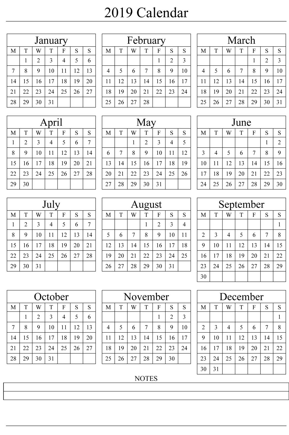 Year 2019 Calendar Template With Printable Templates Blank Word PDF 2018