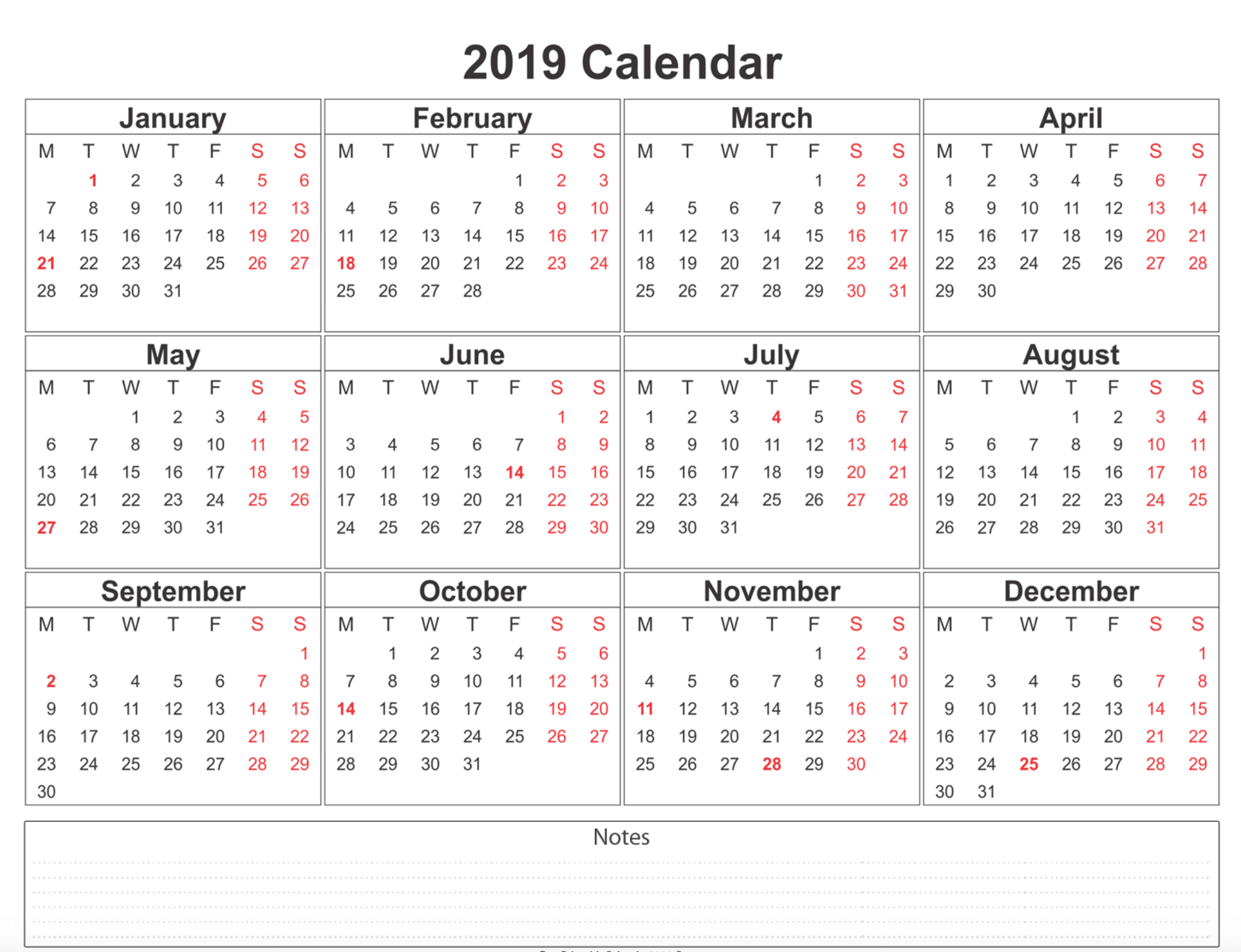 Year 2019 Calendar Template With Printable Templates Online