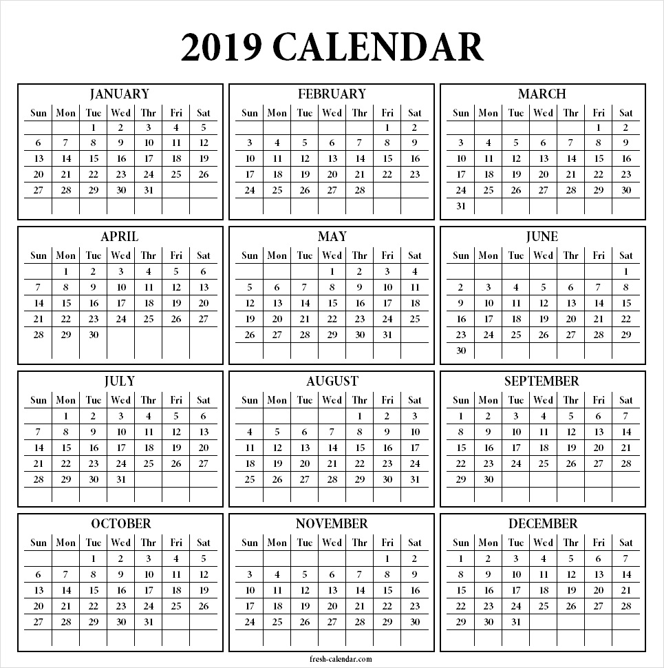 Year 2019 Calendar Template With Yearly Printable One Page Print Out