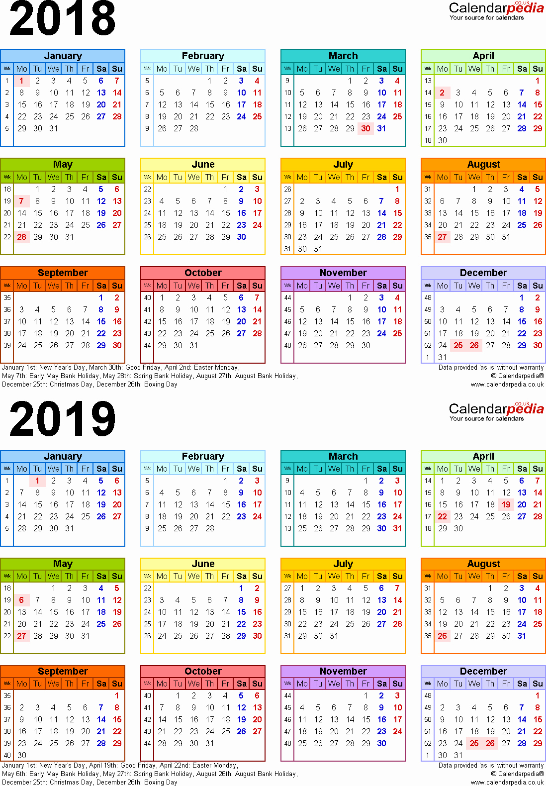 Year 2019 Calendar Uk With Bank Holidays Excel Pdf Word