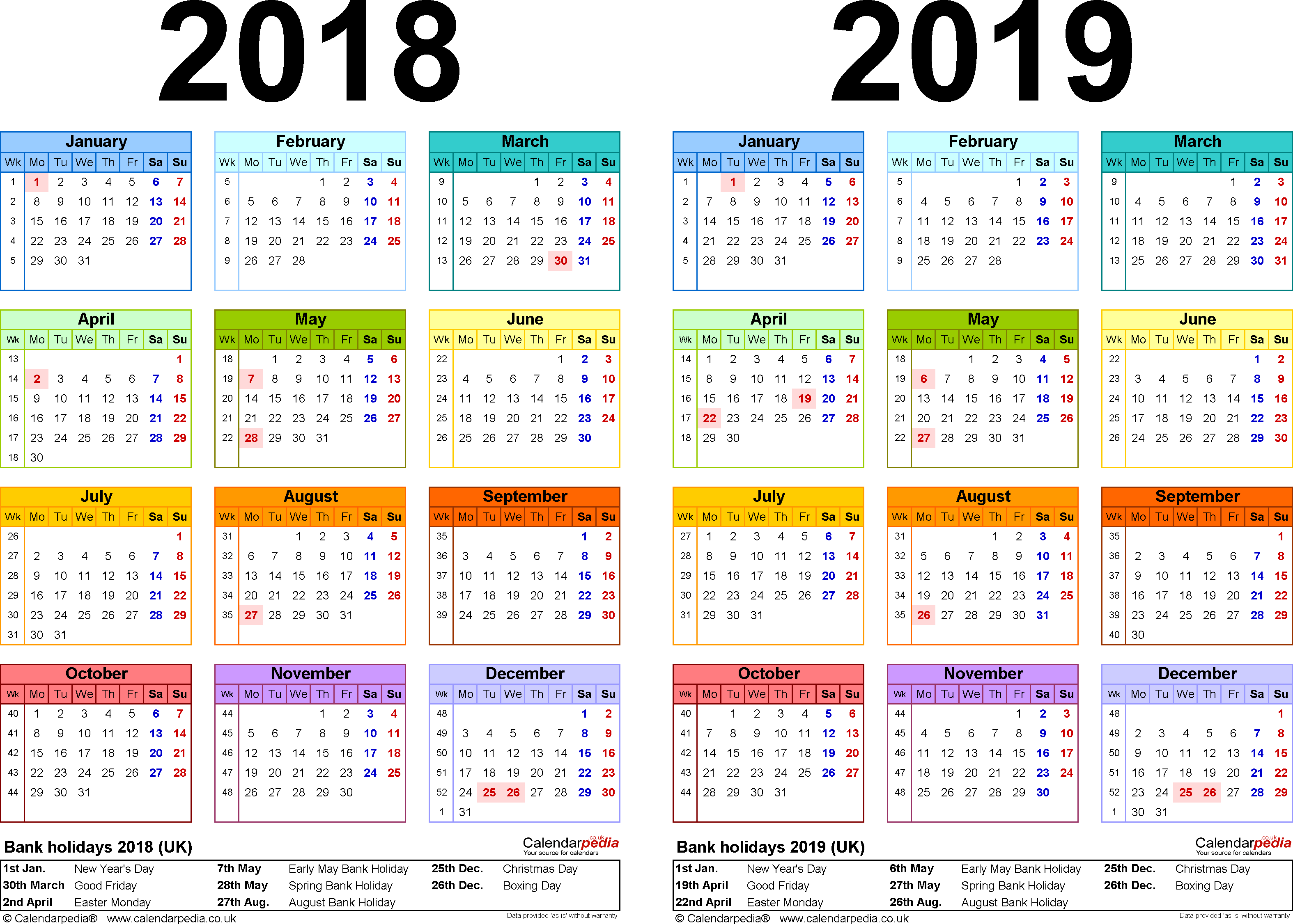 Year 2019 Calendar Uk With Two Calendars For 2018 UK PDF