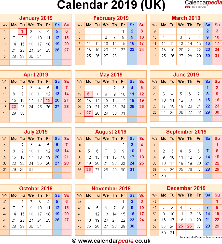 Year 2019 Calendar Uk With UK Bank Holidays Excel PDF Word Templates
