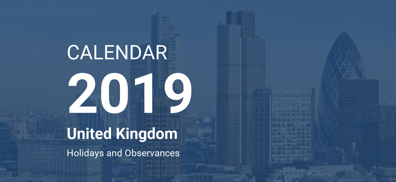 Year 2019 Calendar Uk With United Kingdom