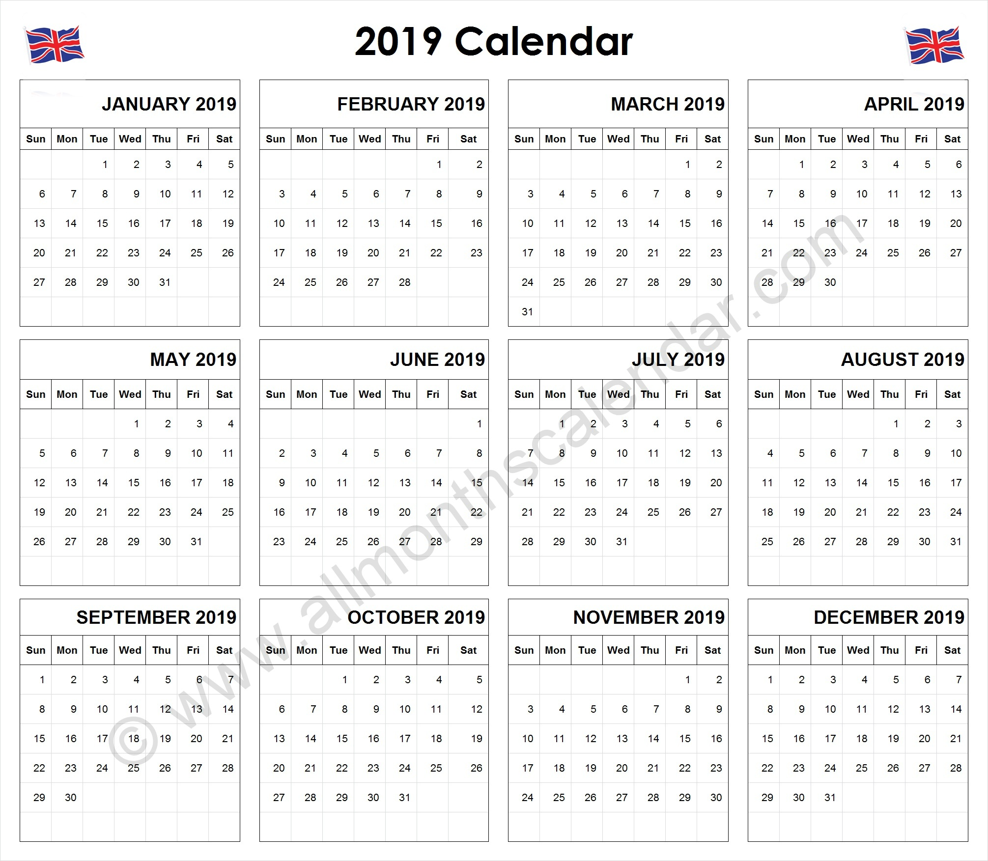 Year 2019 Calendar Uk With Yearly UK 12 Month Printable