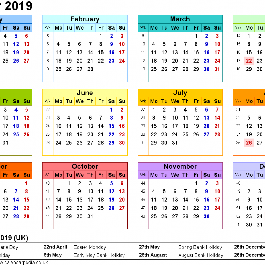 Year 2019 Calendar United Kingdom With UK 16 Free Printable PDF Templates