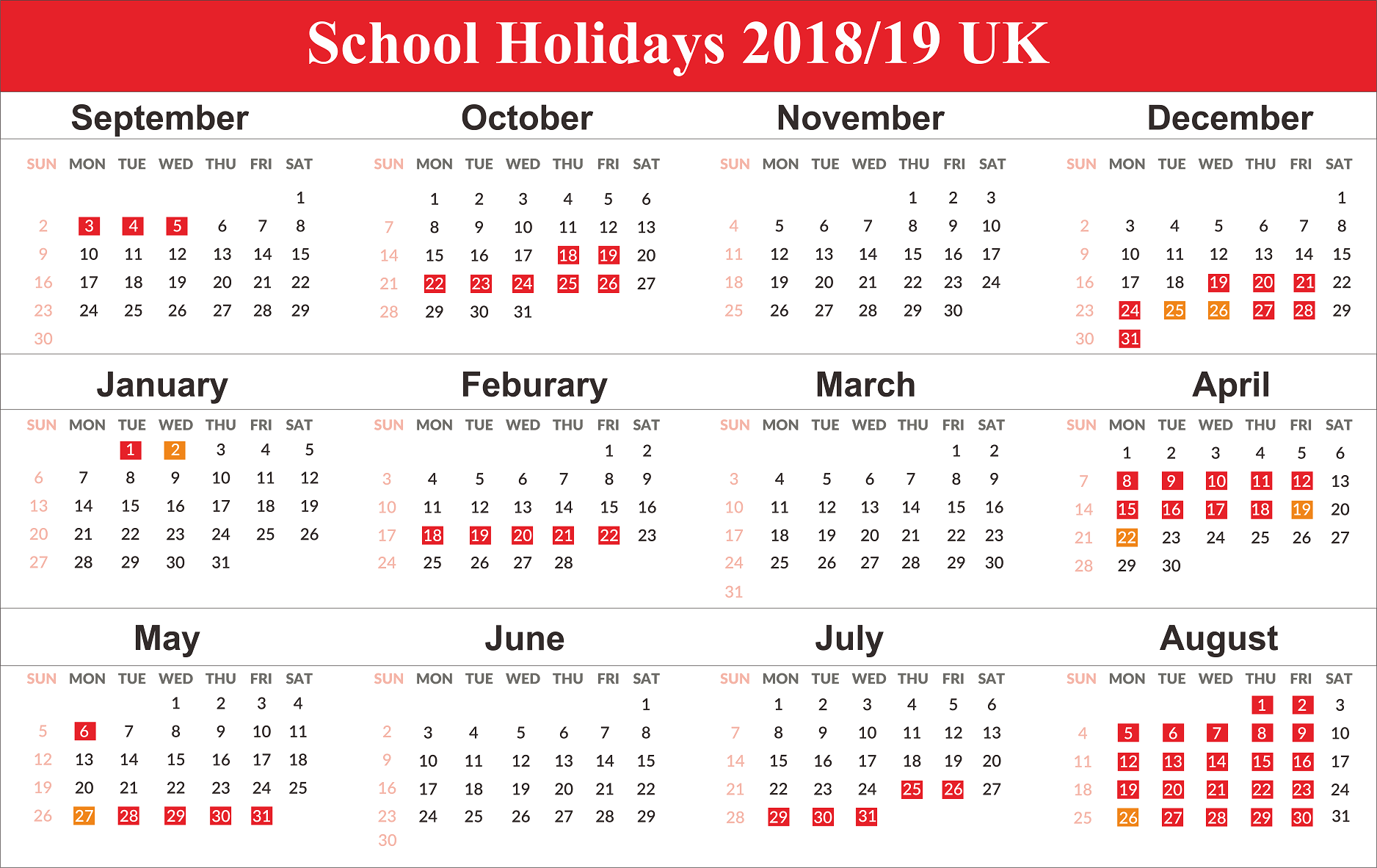 Year 2019 Calendar United Kingdom With UK School Holidays Free Templates
