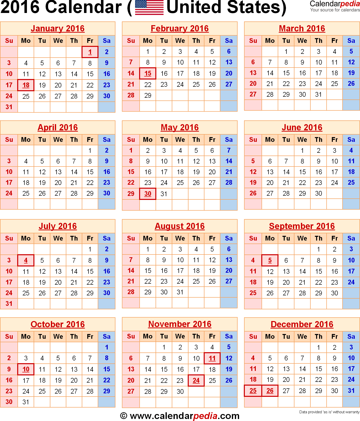 Year 2019 Calendar United States With 2016 Federal Holidays Excel PDF Word Templates