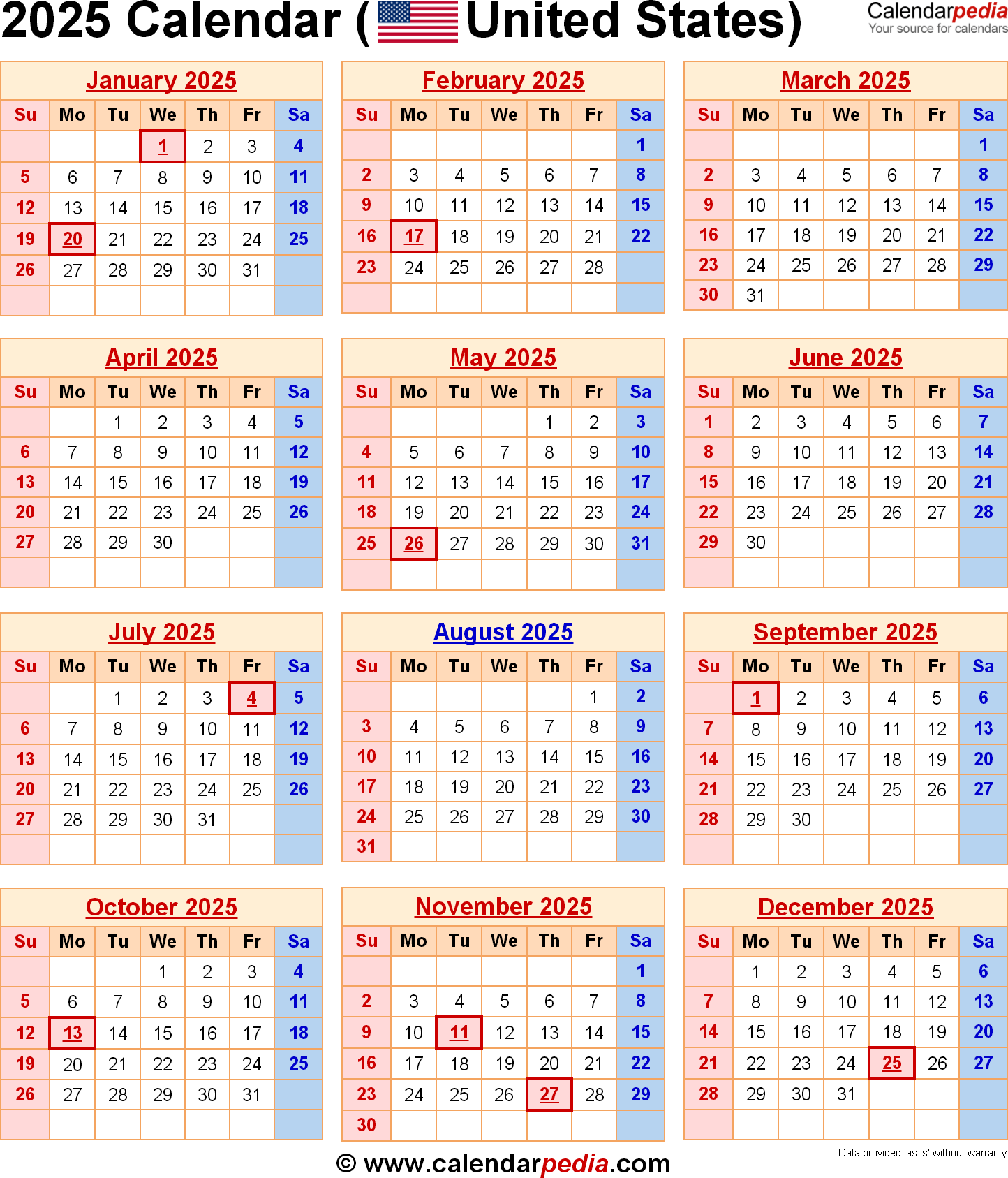 Year 2019 Calendar United States With 2025 For The USA US Federal Holidays