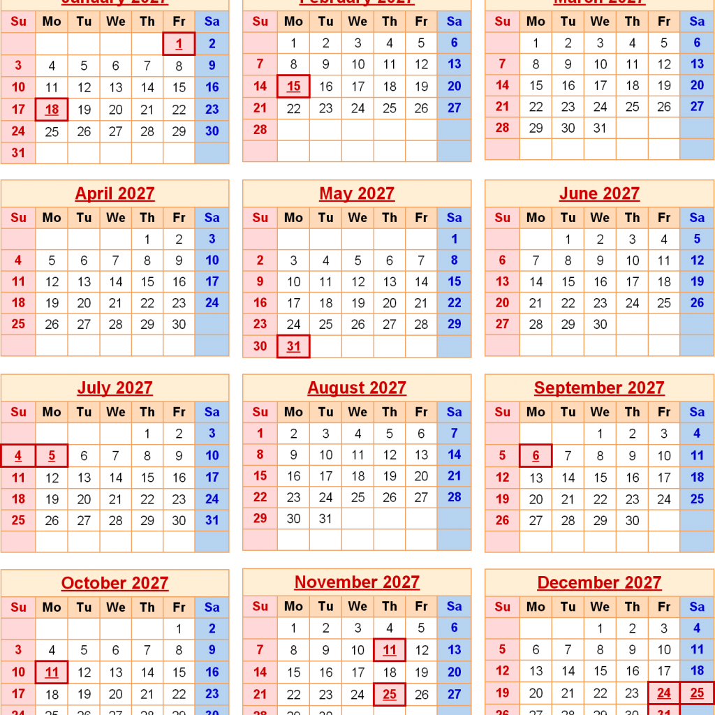 Year 2019 Calendar United States With 2027 For The USA US Federal Holidays