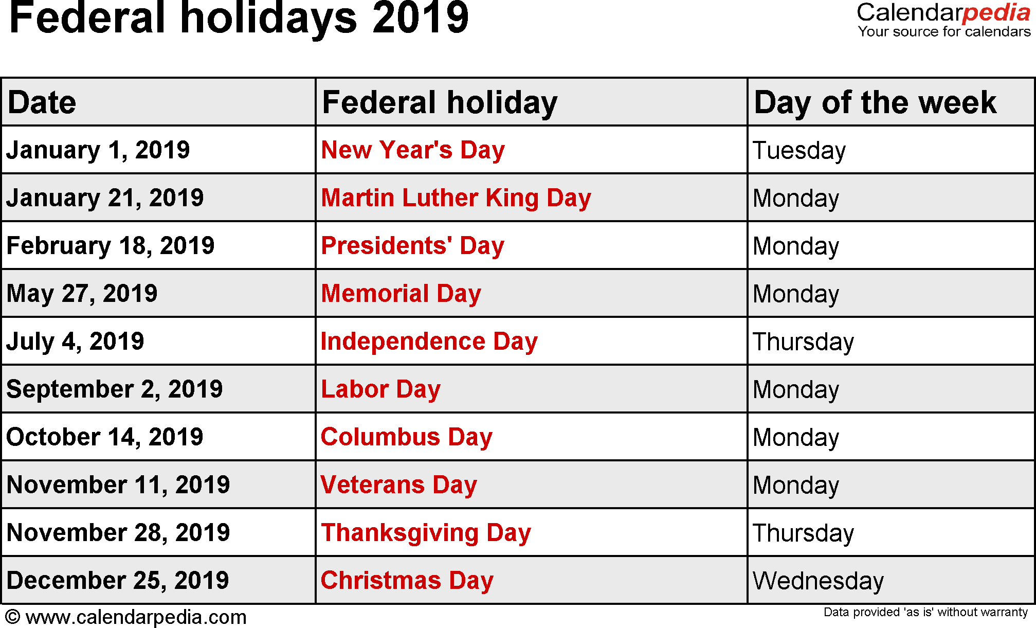 Year 2019 Calendar United States With Federal Holidays