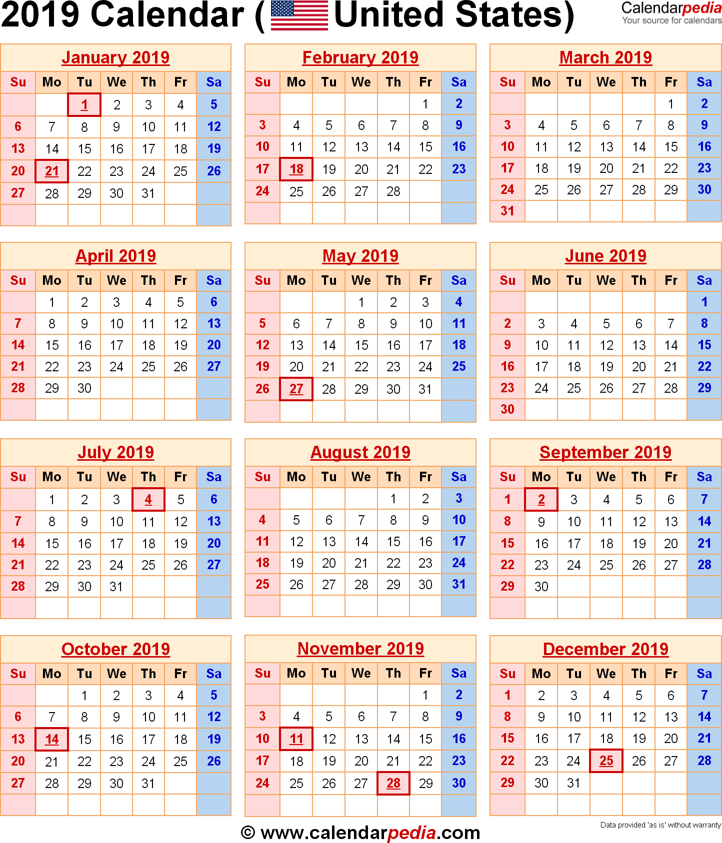 Year 2019 Calendar United States With Federal Holidays Excel PDF Word Templates