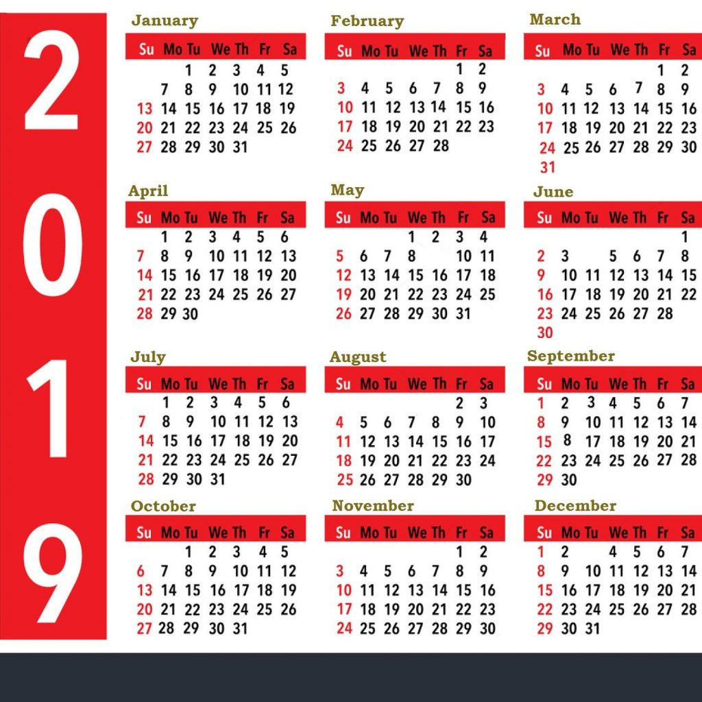 Year 2019 Calendar United States With For Holidays All Important Dates And