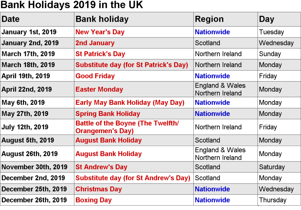 Year 2019 Calendar United States With Free Bank Holidays USA UK UAE Malaysia SA