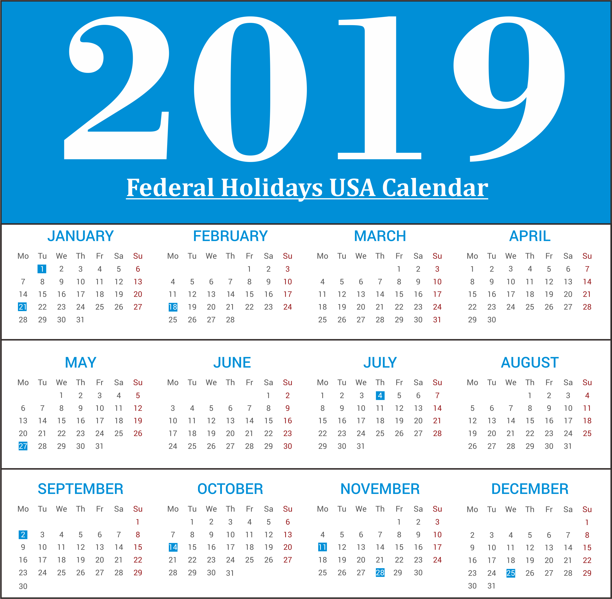 Year 2019 Calendar United States With Free USA State Of America Federal Holidays