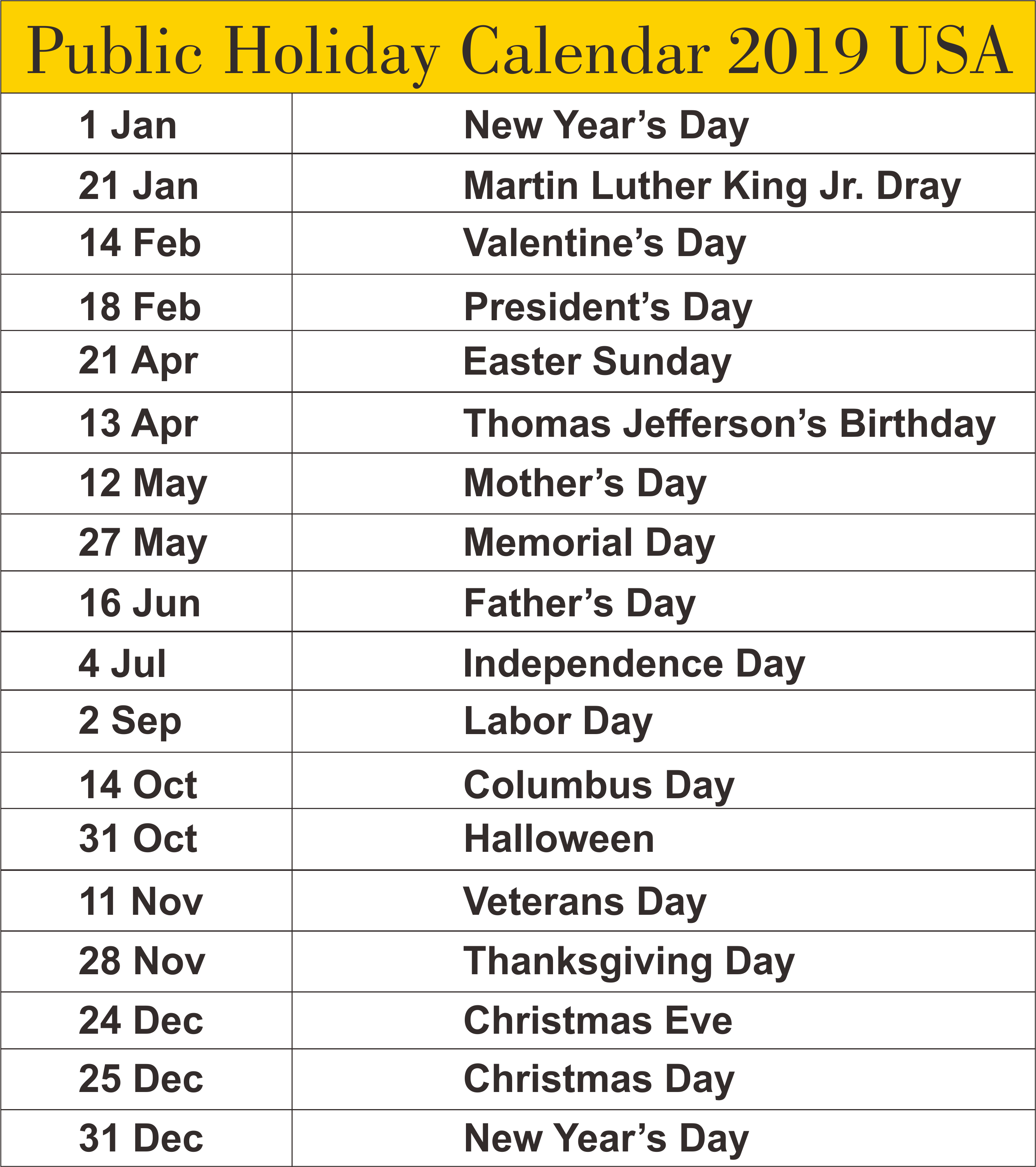 Year 2019 Calendar United States With Free USA State Of America Public Holidays