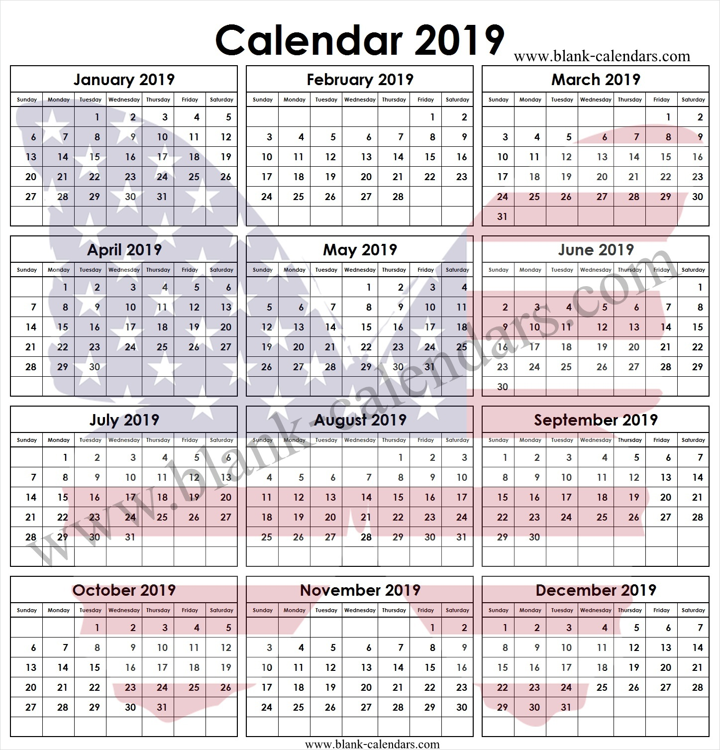Year 2019 Calendar United States With Printable Template