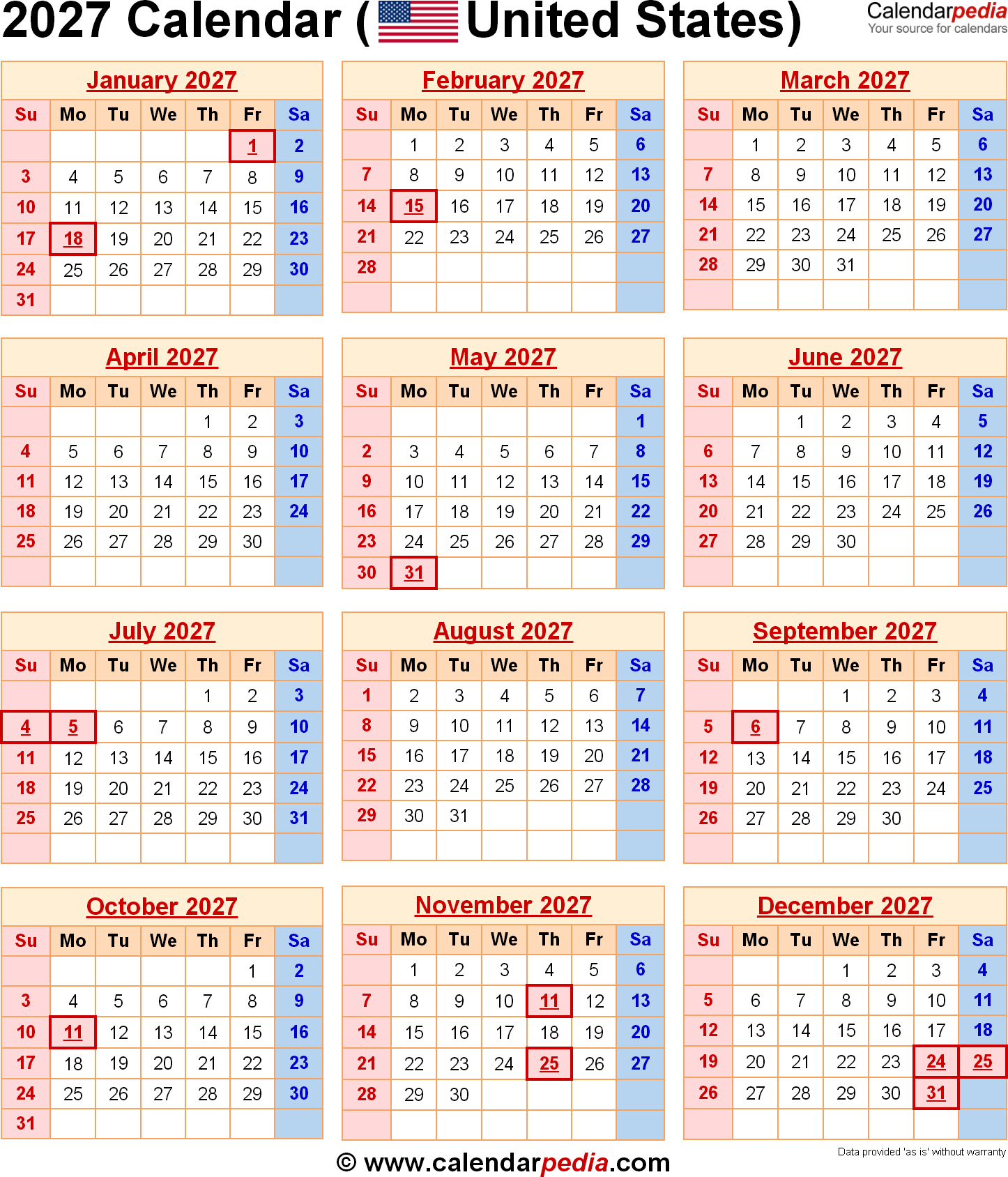 Year 2019 Calendar Usa With 2027 For The USA US Federal Holidays