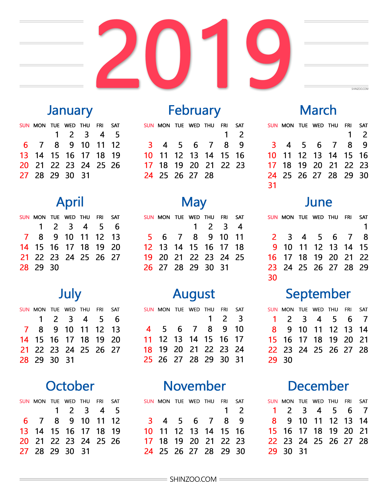 Year 2019 Calendar Usa With Annual