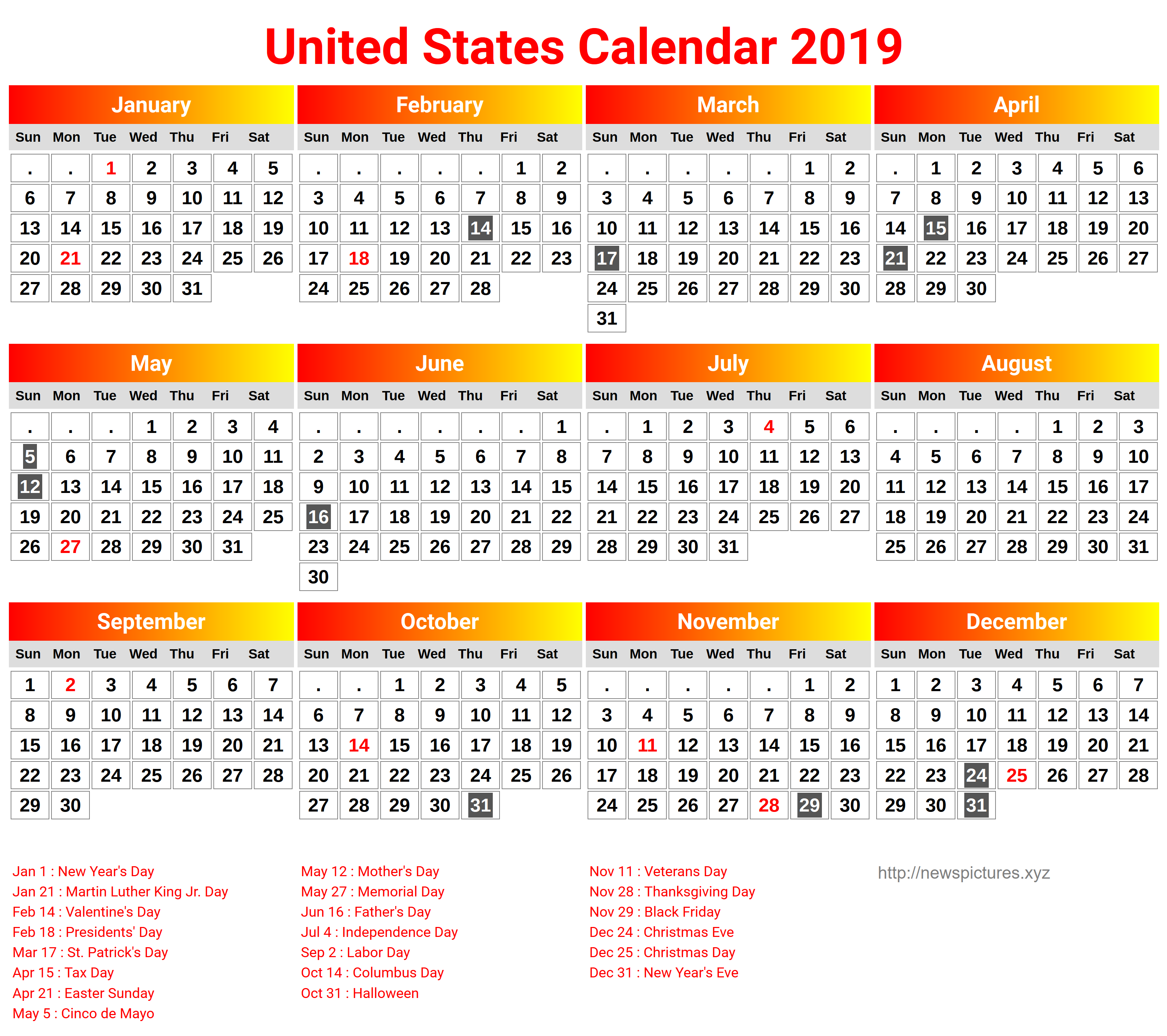 Year 2019 Calendar Usa With Download School Holidays USA America December 2018