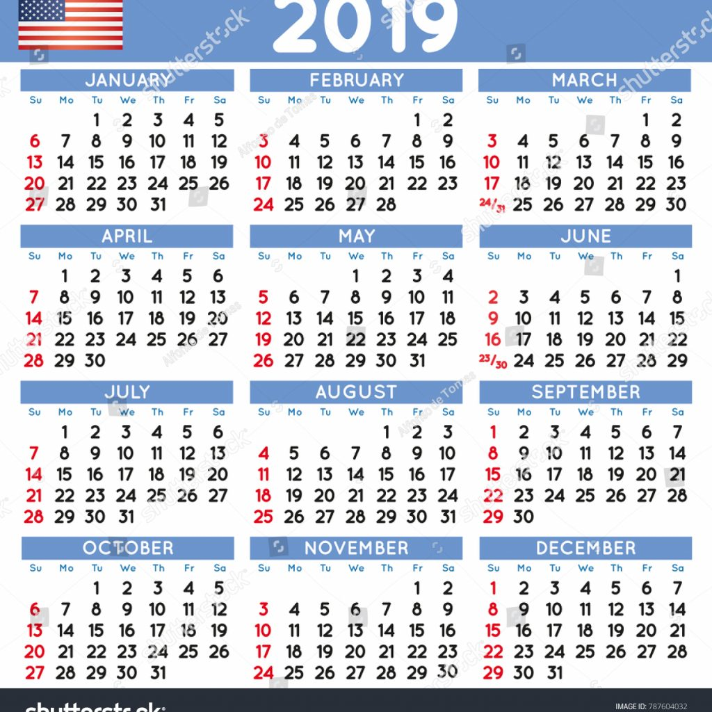 Year 2019 Calendar Usa With Elegant Squared English USA Stock Vector Royalty Free