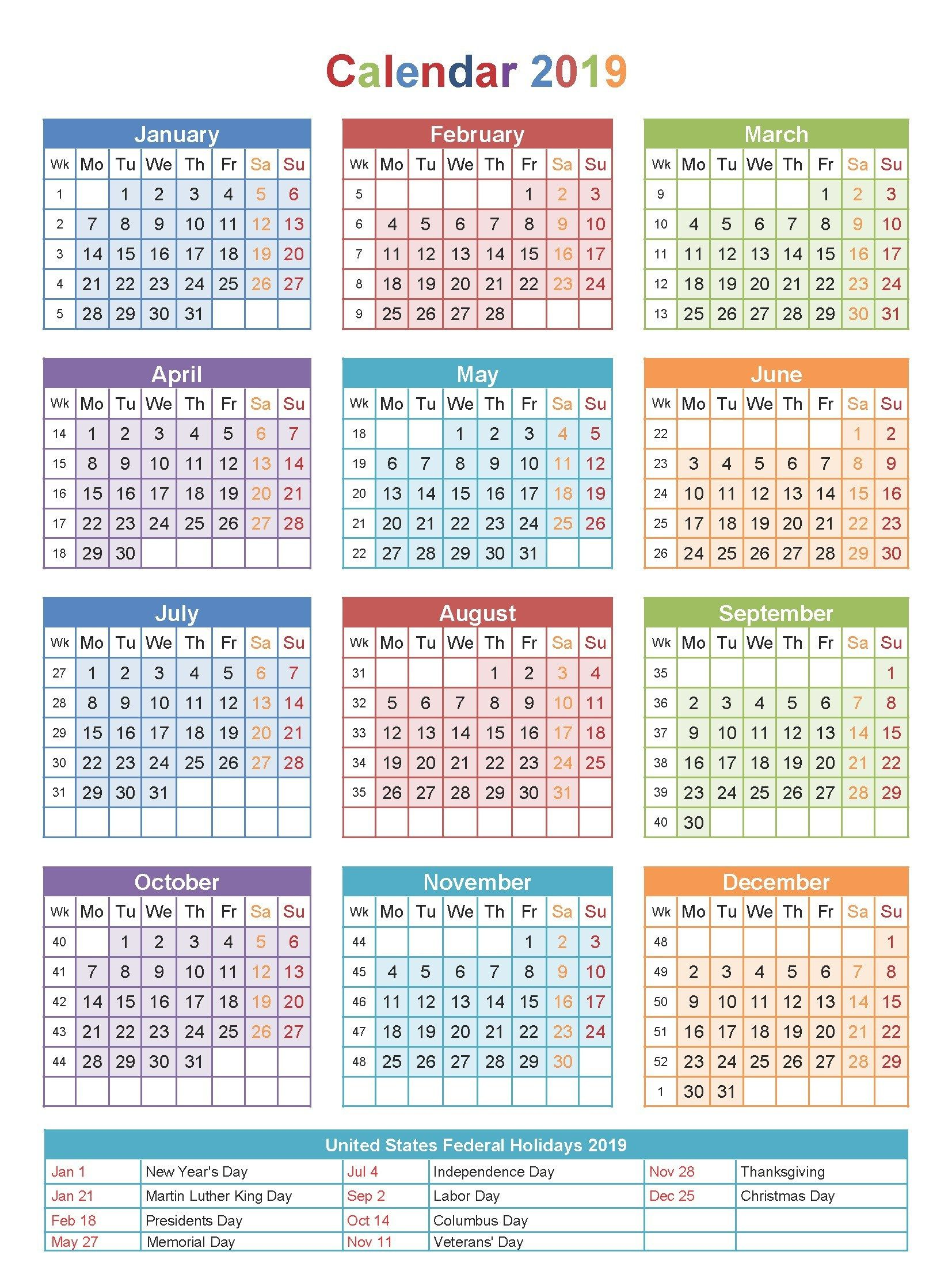 Year 2019 Calendar Usa With Free Editable USA PDF Excel Word Templates