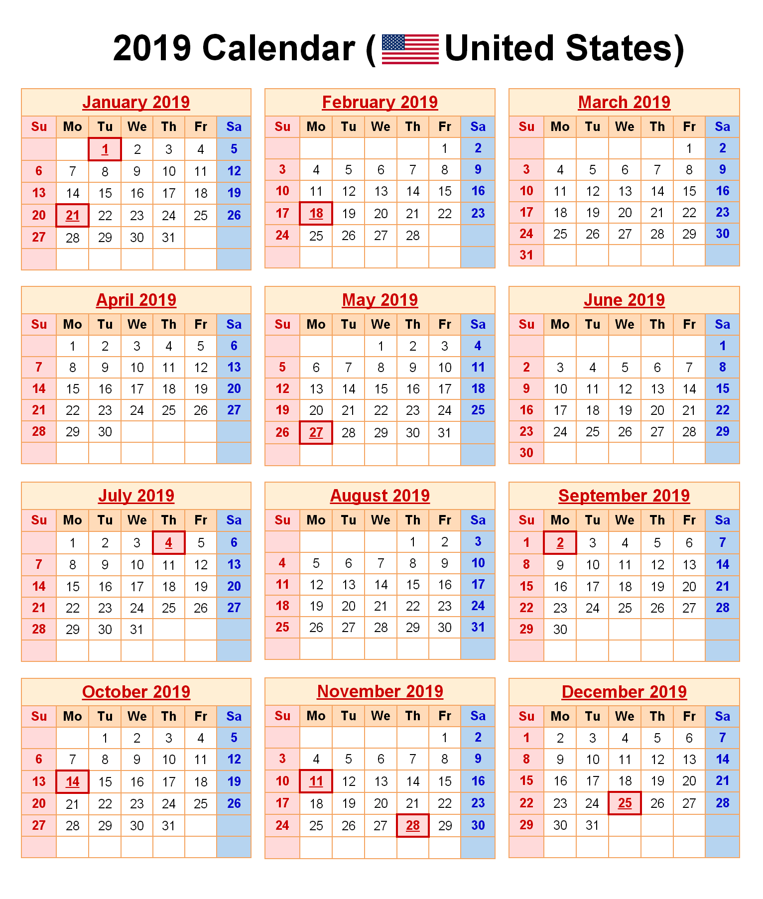 Year 2019 Calendar Usa With Get Free Federal Holidays Printable USA UK Canada