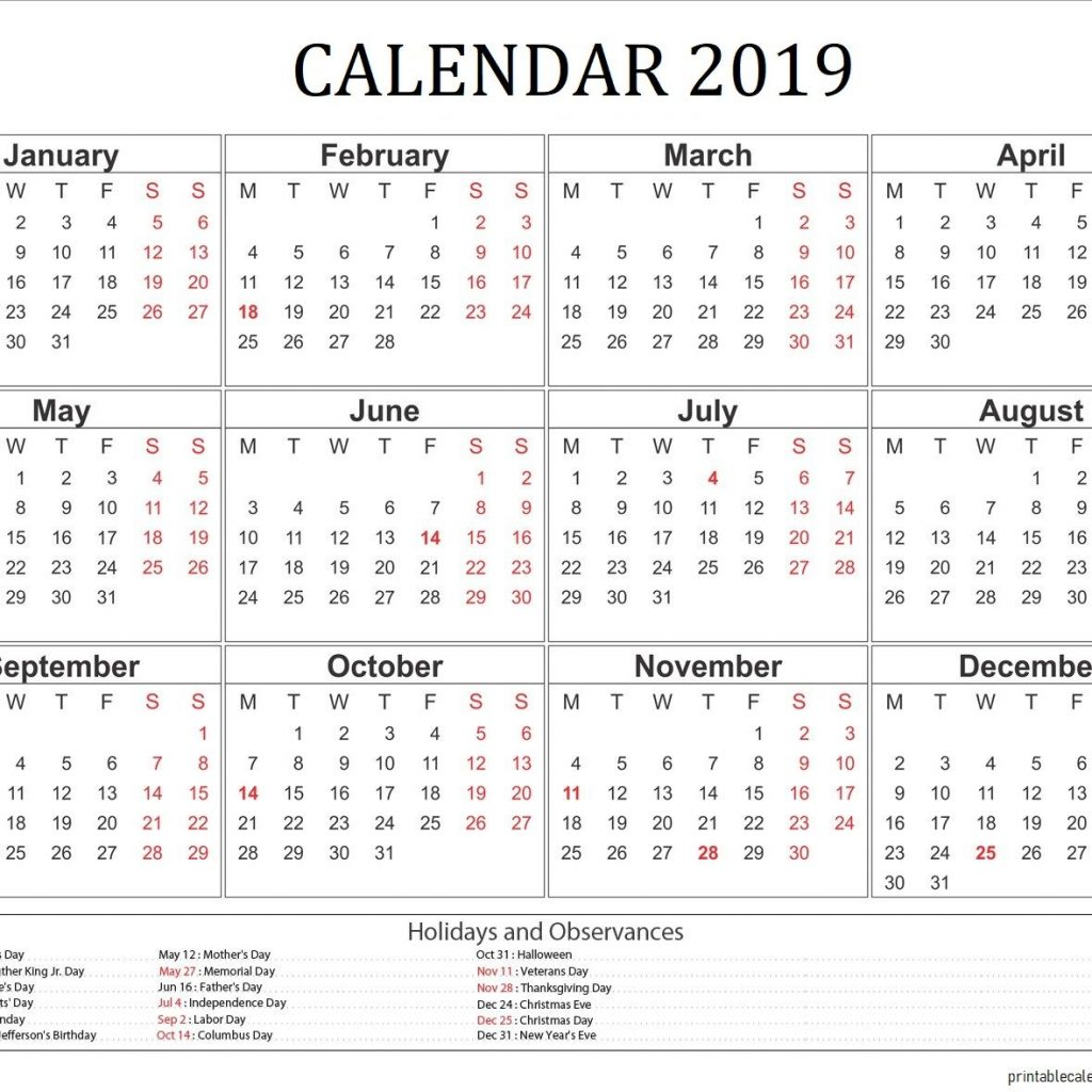 Year 2019 Calendar Usa With Holidays USA Pinterest