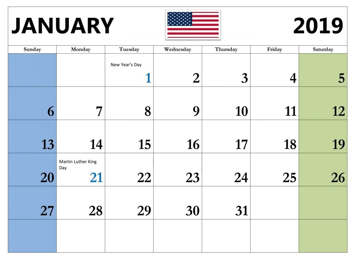 Year 2019 Calendar Usa With January USA Template Blank Printable Holidays PDF