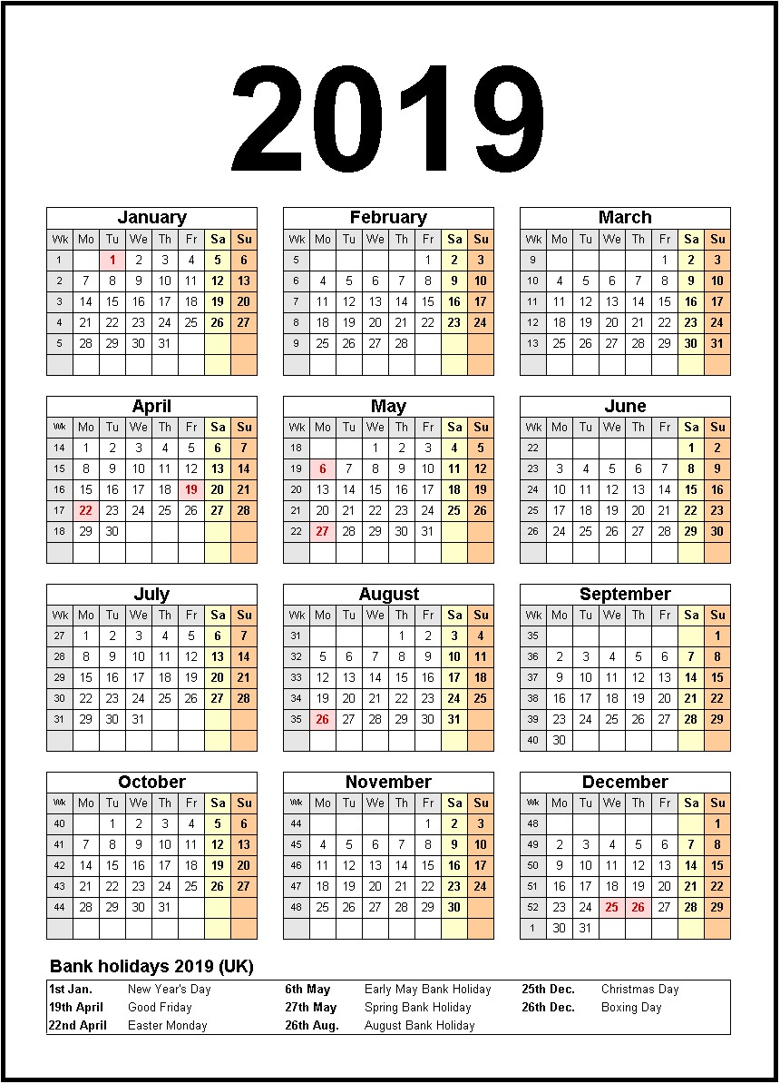 Year 2019 Calendar Usa With Printable Us Holidays