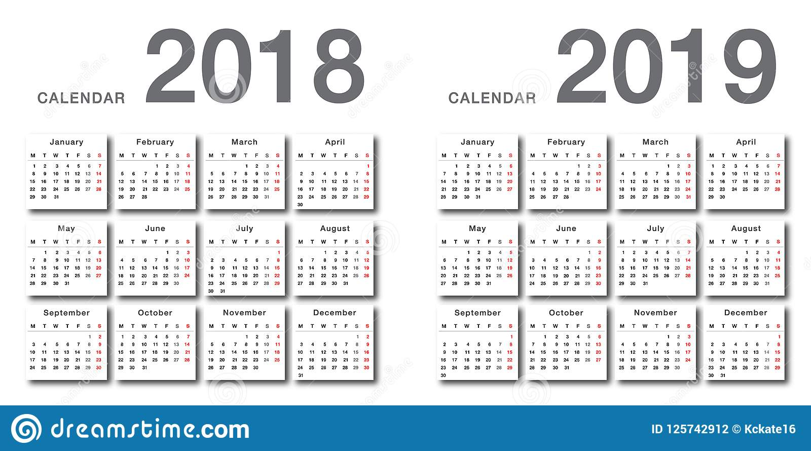 Year 2019 Calendar With 2018 And Vector Design Template Simple