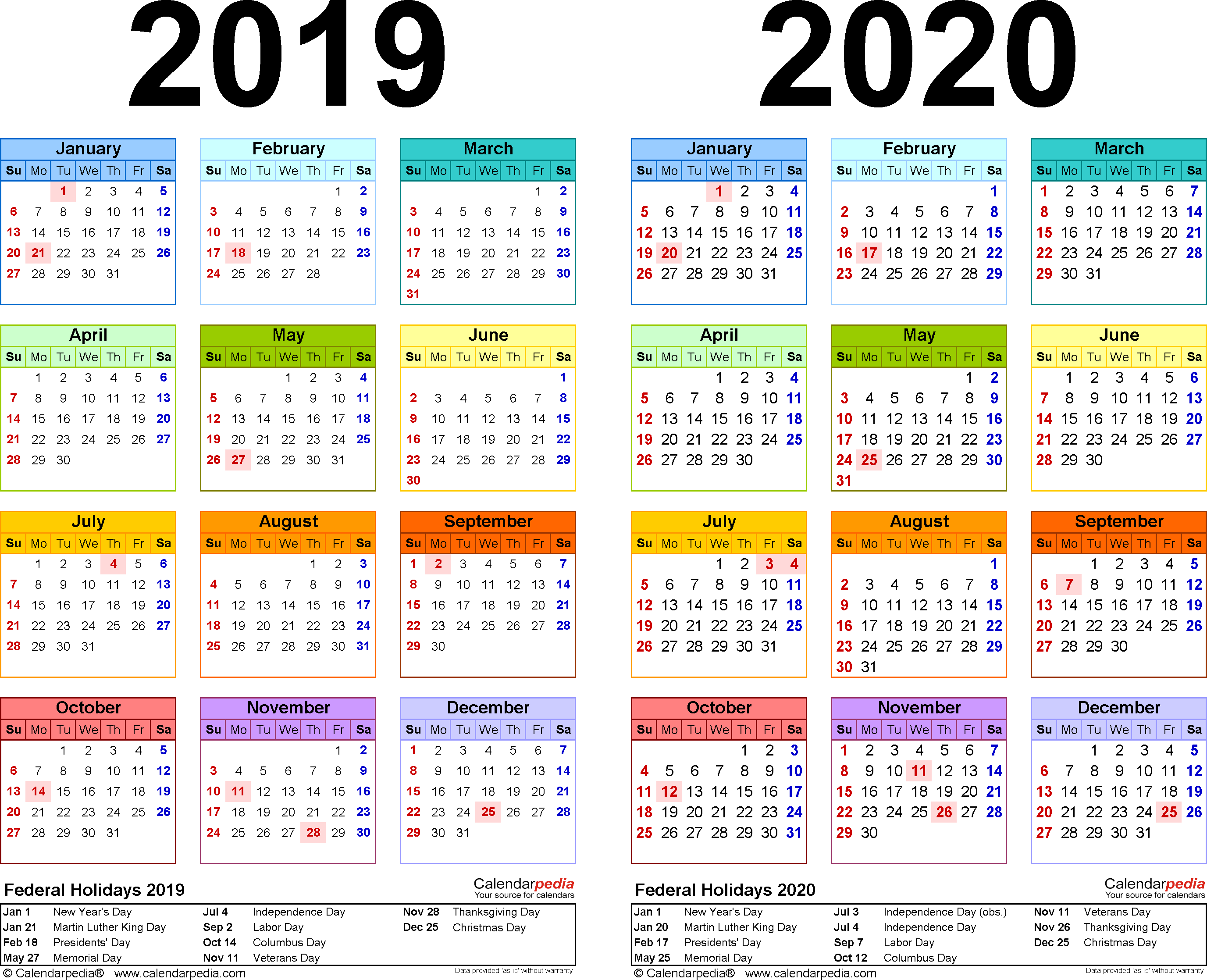 Year 2019 Calendar With 2020 Free Printable Two PDF Calendars