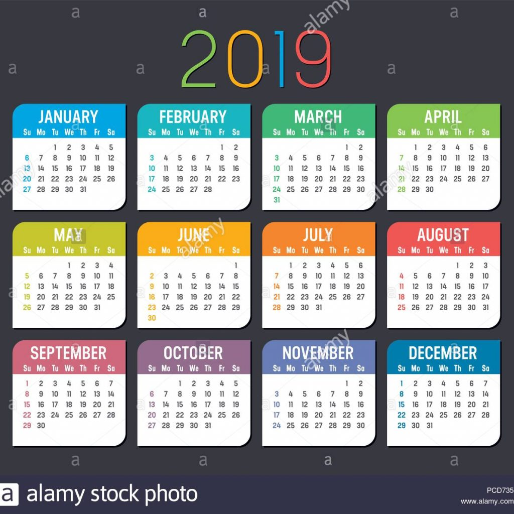 Year 2019 Calendar With Colorful Isolated On A Dark Background Stock