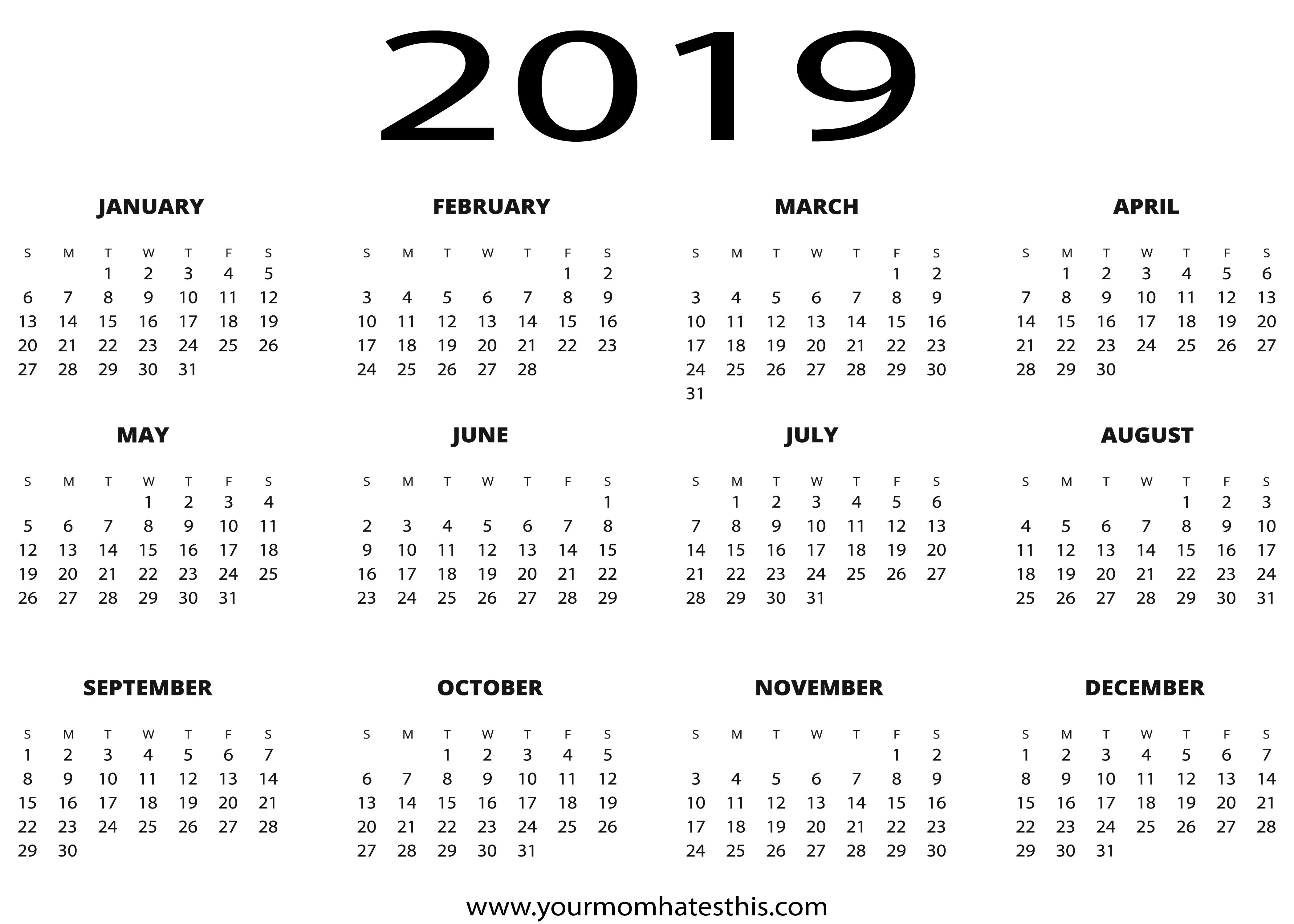 Year 2019 Calendar With Download PDF