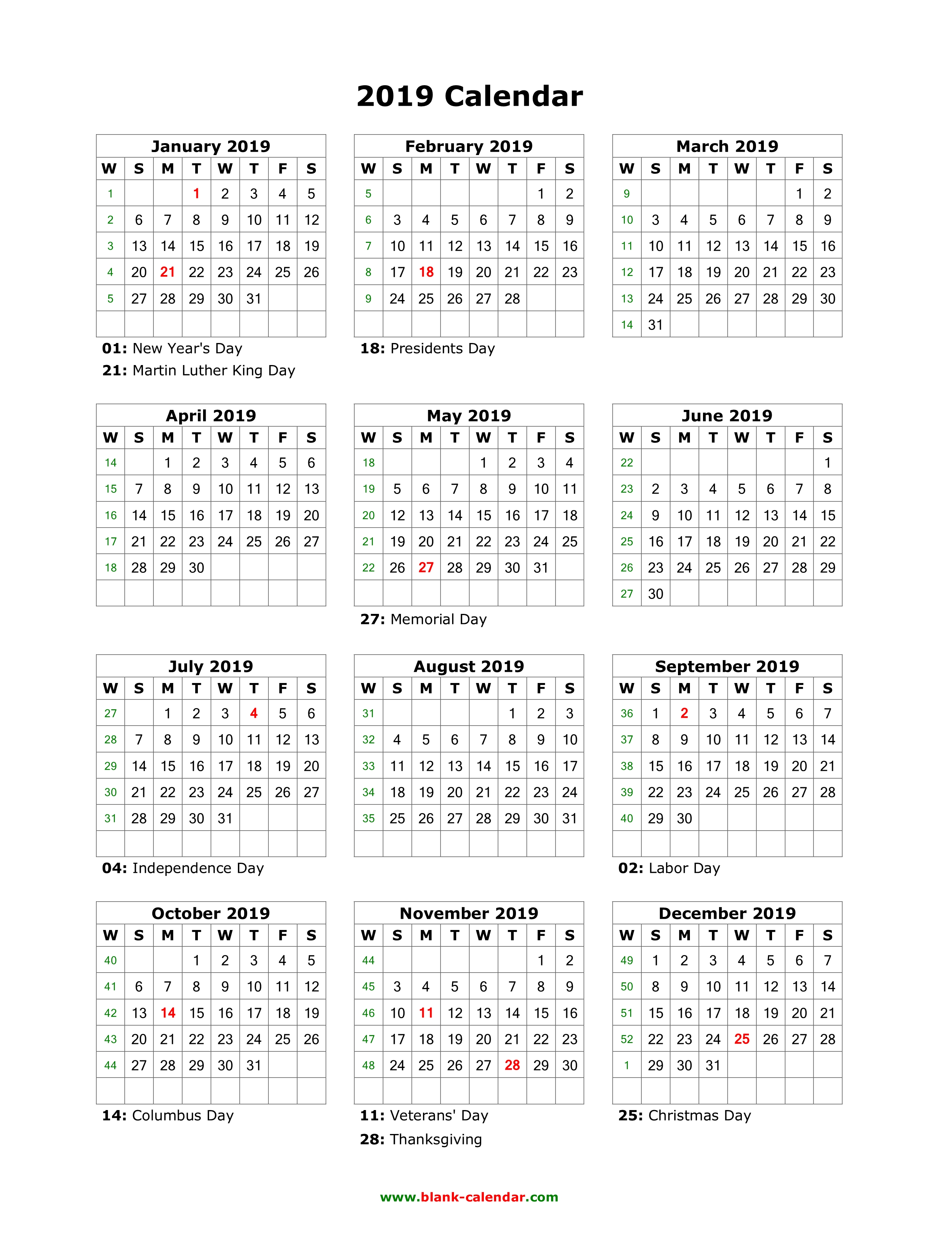 Year 2019 Calendar With Holidays Download Blank US 12 Months On One Page