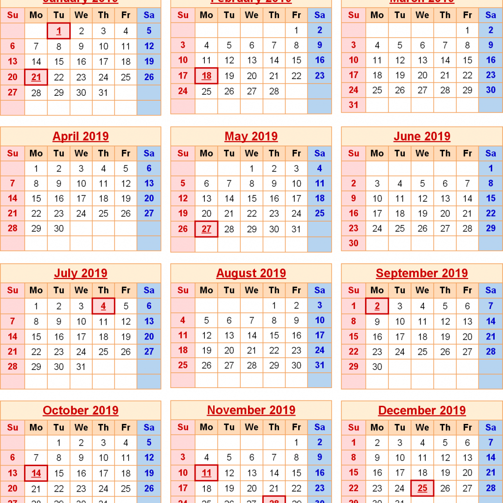 Year 2019 Calendar With Holidays Federal Excel PDF Word Templates