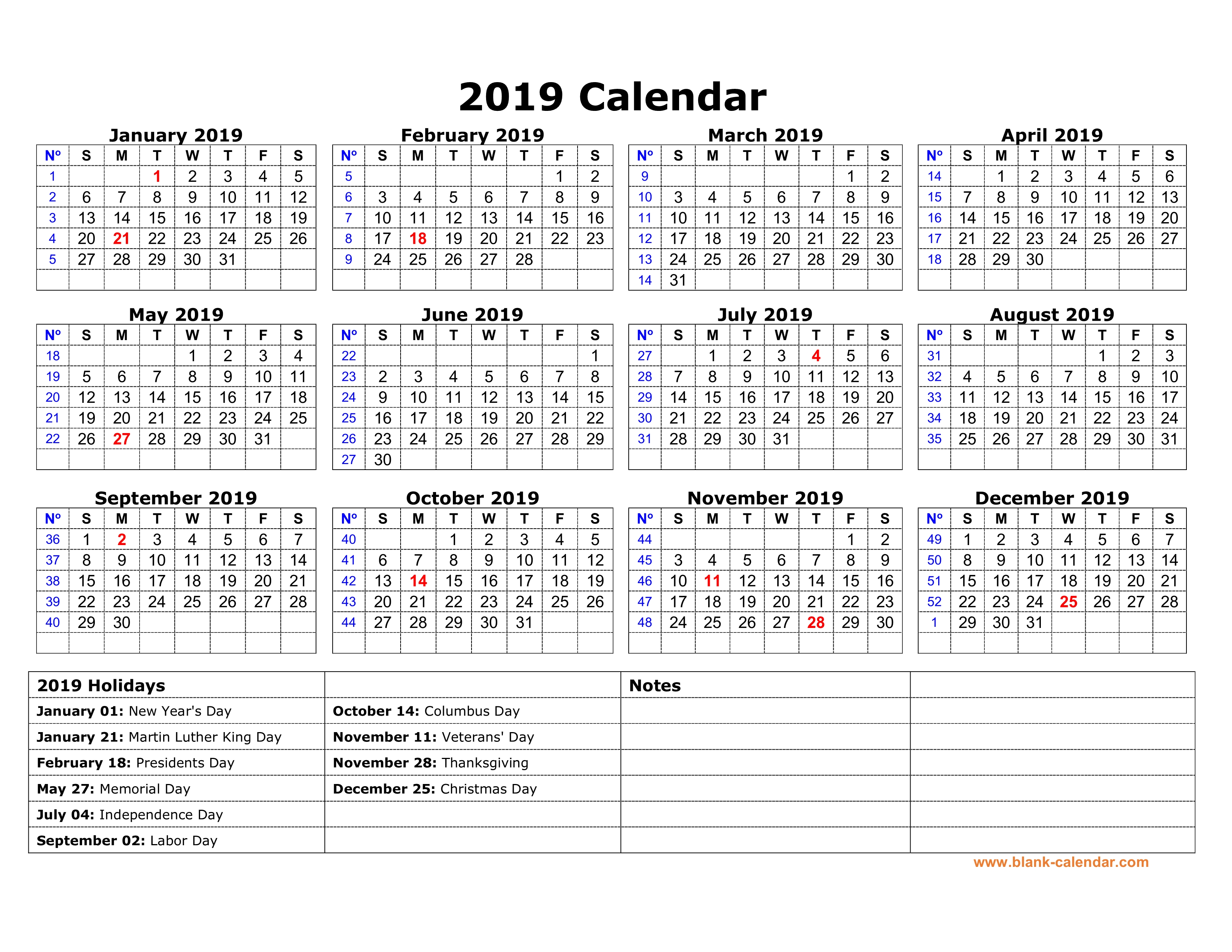 Year 2019 Calendar With Holidays Free Download Printable US Federal One