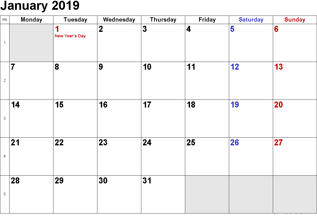 Year 2019 Calendar With Holidays Free Sample January December 2018