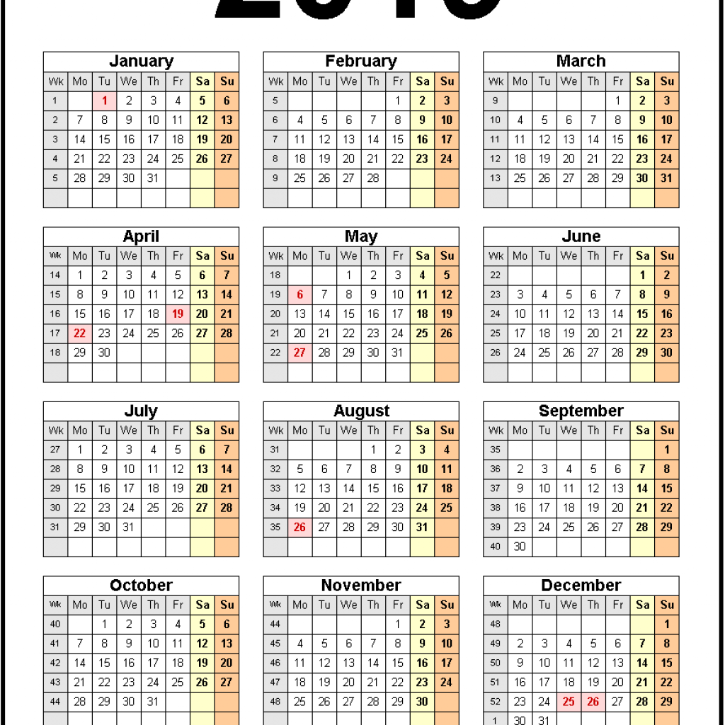 Year 2019 Calendar With Holidays Printable United States Monthly